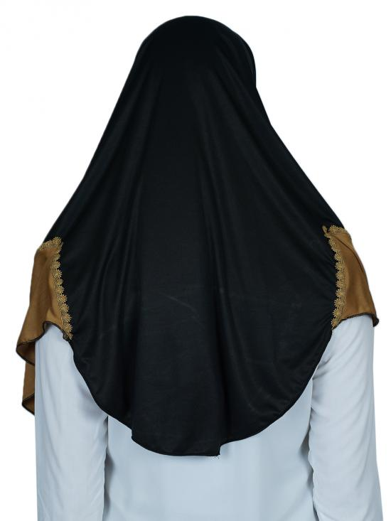 Instant Hijabs With Lace Work In Black And Dark Beige