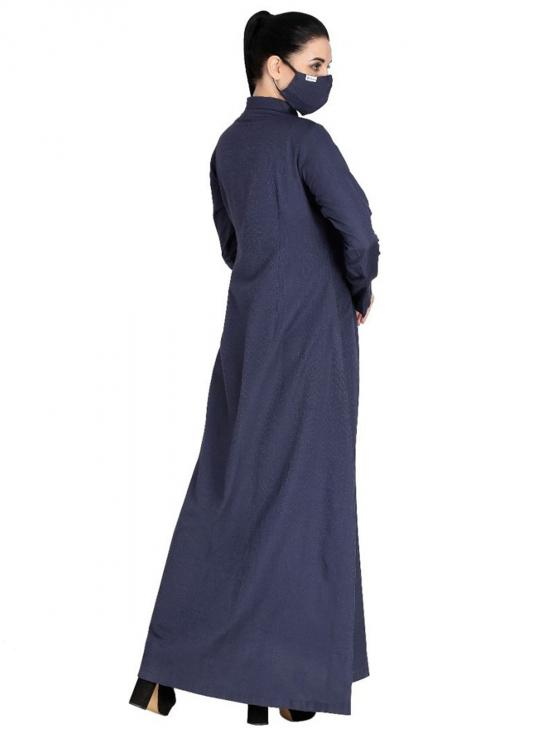 Poly Cotton Front Open Abaya With Full Sleeves And Side Pockets In Navy Blue