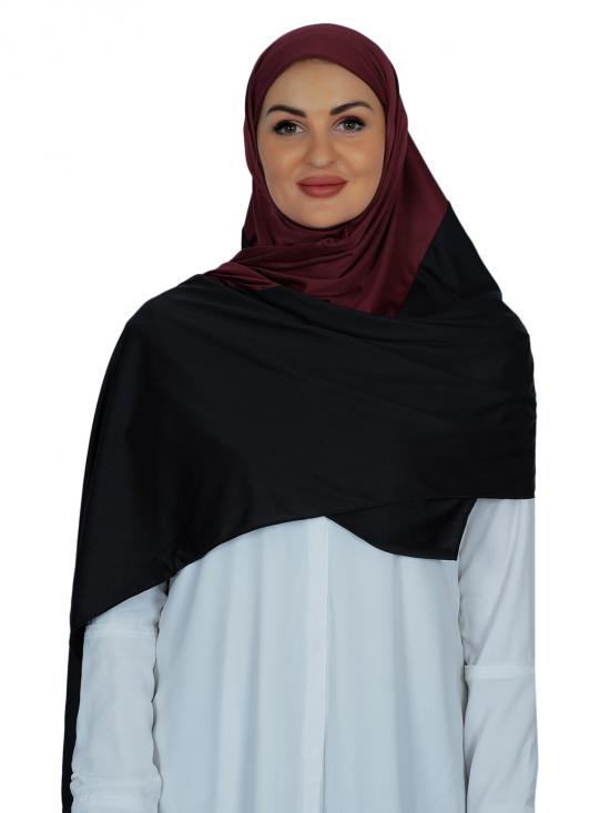 Lycra Double Shade Stole In Black And Dark Maroon