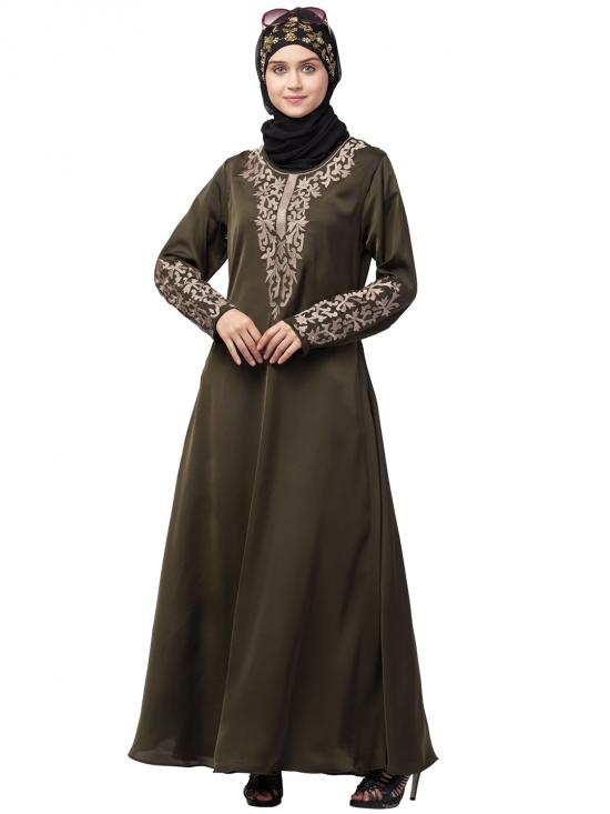 Premium Shine Nida Abaya With Front And Sleeve Resham Embroidered In Olive Green And Gold