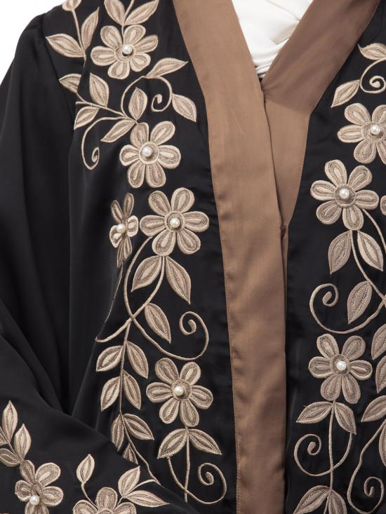 Premium Shine Nida Front Open Abaya With Front And Sleeve Resham Embroidery In Black And Brown