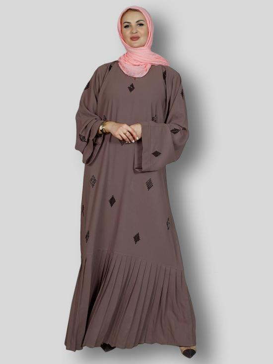Masha Crepe Simple Free Size Abaya With Crystal Hand Work And Pleat Work On Bottom In Brown