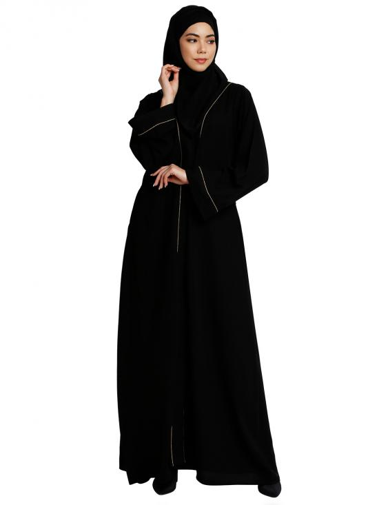 Nida Matte Front Open Abaya With Piping Work In Black