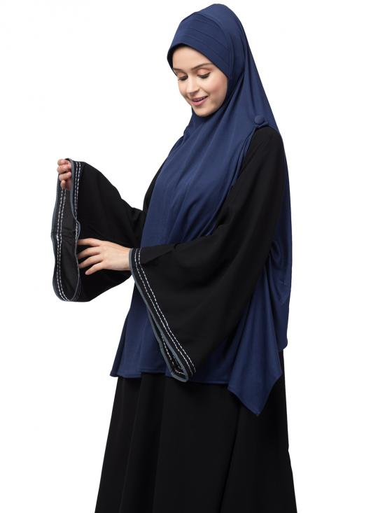 Poly Knits Malaysian Hijab With Buttons At Shoulder In Navy Blue