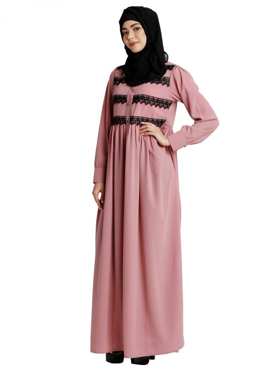 Nida Matte Abaya With Lacework And Collared Neck In Baby Pink