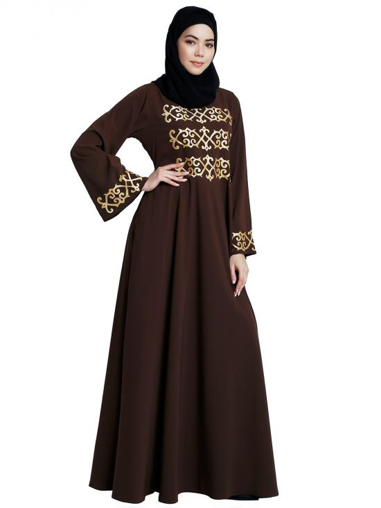Nida Matte Umbrella Abaya With Golden Embroidery Work In Coffee Brown