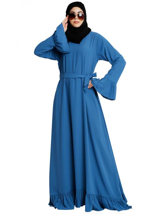 Nida Matte Casual Frilled Abaya In French Blue