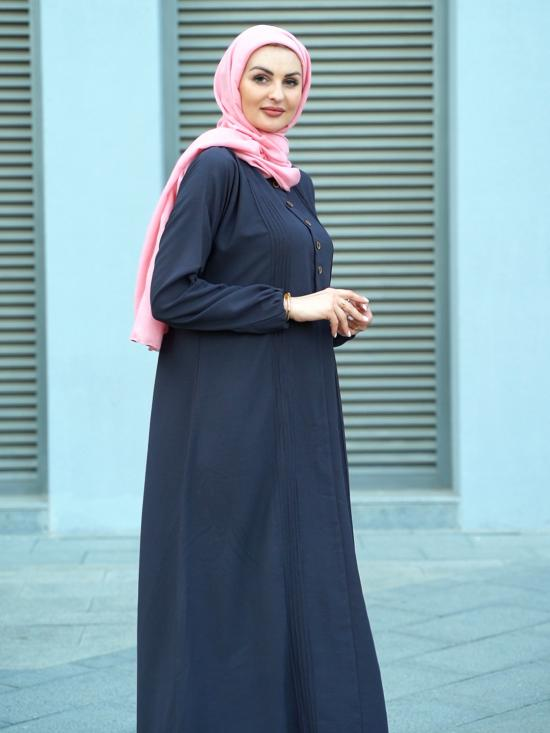 Korean Masha Crepe Simple Free Size Abaya With Button On Front In Dark Grey