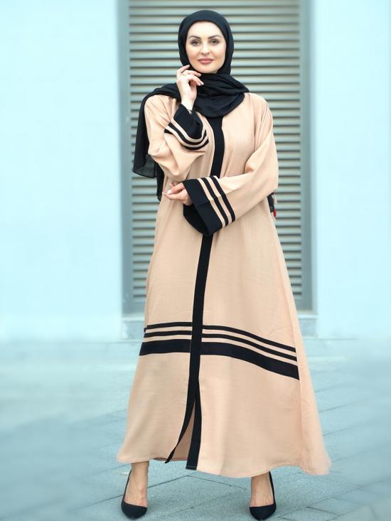 Linen Free Size Abaya With Black Line Work On Front And Sleeve In Beige